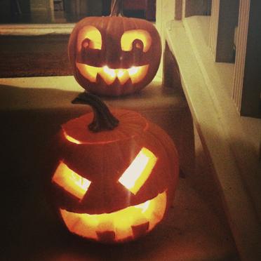Aled (top) and Rosie pumpkins