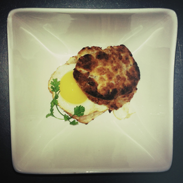 Quails egg, turkey, cheese, biscuit